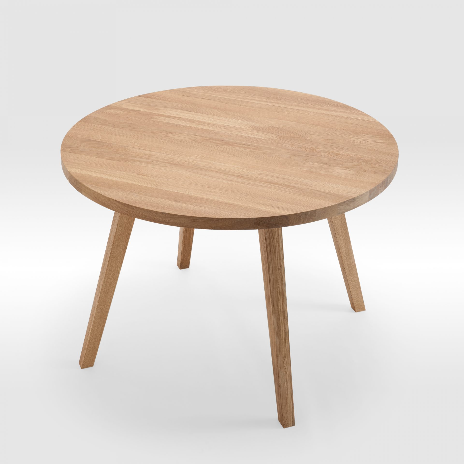 Apvalus ąžuolo masyvo valgomojo stalas