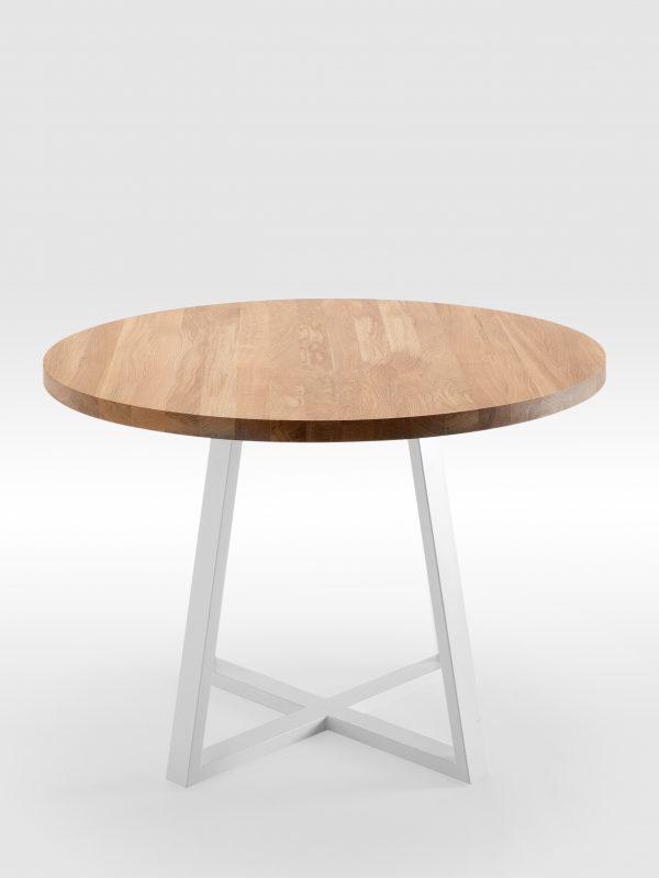Apvalus valgomojo stalas su išskirtinio dizaino kojomis