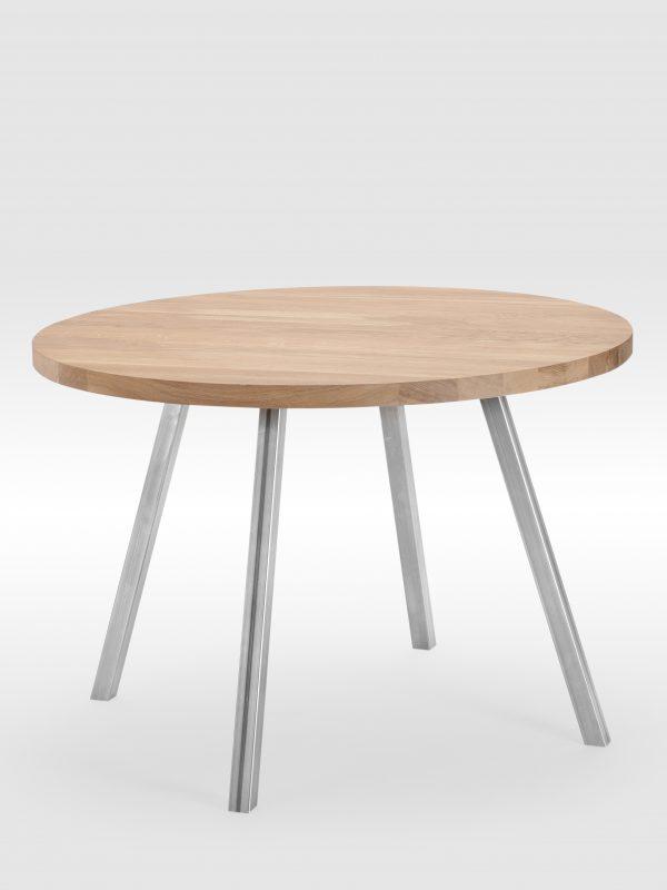 Apvalus stalas su nedažytomis plieninėmis kojomis