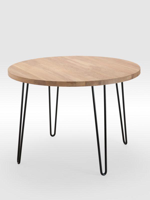 Apvalus valgomojo stalas su lenktomis kojomis